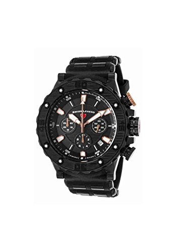 Swiss Legend Men's 'Hunter' Swiss Quartz Stainless Steel and Silicone Casual Watch, Color:Black (Model: 15253SM-BB-01-RA)