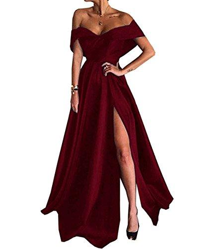 67829db10294 JQLD Womens Long Slit Evening Dress Off Shoulder A Line Satin Prom ...