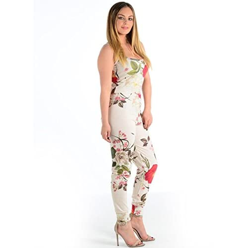 1e7e3fae9d GirlzWalk Women s Ladies Sleeveless Strappy Floral Leaf Print Fancy Cami  Jumpsuit