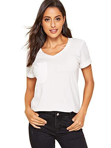 Floerns Women's V Neck Short Sleeve Casual T-Shirt White-1 L ()