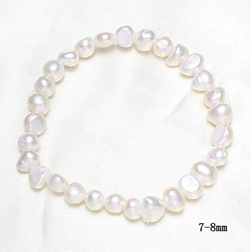 Gabcus 7-8mm White Baroque Pearl Beads Charm Bracelet for Women Freshwater Cultured Pearl Elastic Bracelet Wedding Bridal Jewelry - (Metal Color: ()