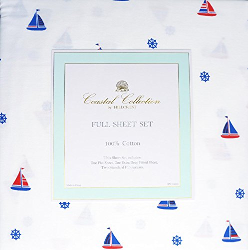 Coastal Collection by Hillcrest 4 Piece Cotton Full Sheet...