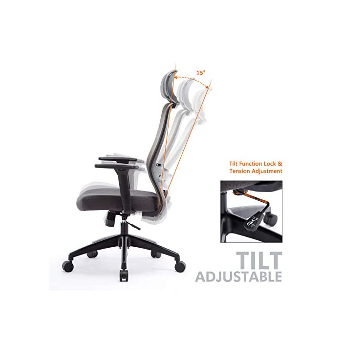 414H5IrrvAL ✔ Respaldo Ergonómico: El diseño de malla hace que el respaldo de silla sea transpirable, es más conveniente para usar en verano. La silla ergonómica de oficina con soporte lumbar, reposabrazos ajustables y reposacabeza para hacerle disfrutar más después del trabajo. ✔ Asiento Transpirable: El asiento acolchado es grueso y tiene buena elasticidad. Hecho de esponja gruesa de alta calidad y malla transpirable. No hace que el cuerpo se siente caliente, mantenga sus nalgas y piernas libres de sudor. ✔ Múltiples Ajustes: Los controles neumáticos facilitan subir o bajar el asiento, a través de sacar el asa puede realizar el modo de giro, puede inclinar el respaldo conjunto con asiento por pequeño ángulo, los brazos de 3D son ajustables con la altura, además puede realizar el ajuste de poco ángulo de dirección paralela.