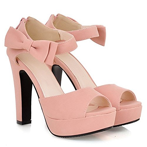 COOLCEPT Mujer Moda Al Tobillo Sandalias Peep Toe Tacon Embudo Alto Zapatos With Cremallera Rosado