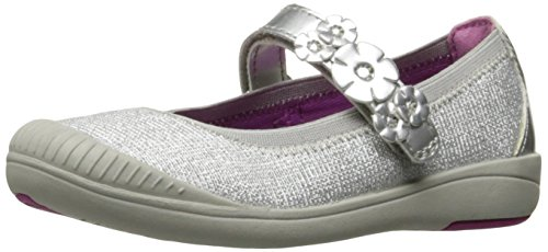 (Stride Rite Girls' Layla Mary Jane Flat Silver 7.5 M US)