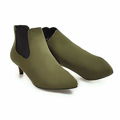 Boots Elastic Carolbar Mid Heel Dress Green Charm Short Elegant Women's xnA7OwFP