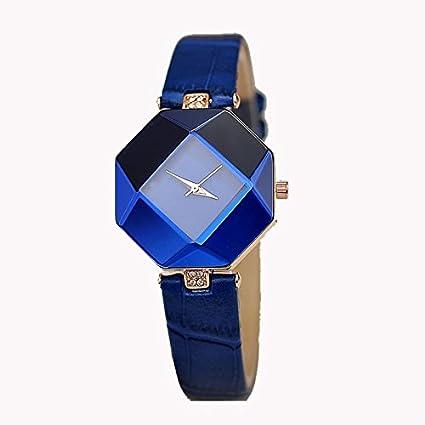 Onizun - Women Watches Gem Cut Geometry Crystal Leather Quartz Wristwatch Fashion Dress Watch Ladies Gifts Clock Relogio Feminino [Blue]