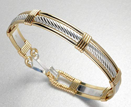 Handmade Sterling Silver & 14k Gold Filled Twisted Cable Patterned Wire Wrapped Bracelet - Made In Alaska
