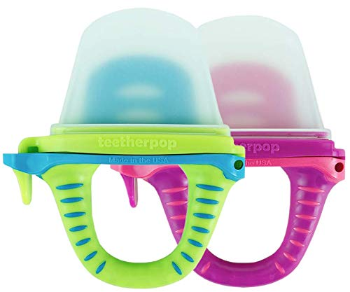 teetherpop - New 2 Pack - Fillable, Freezable Baby Teether for Breastmilk, Purées, Water, Smoothies, Juice & More (Baby Teether is USA Made & BPA Free) (Fuschiapink/LimonTeal)