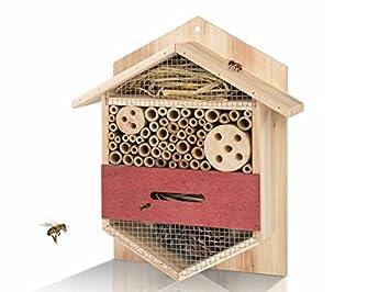 Insektenhotel Insektenhaus Insekten Hotel Haus Rahmen aus Echtholz 5 x 40 cm) Qsource GmbH