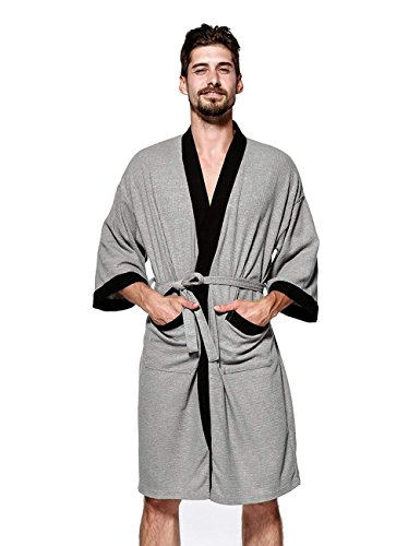 WEEN CHARM Men's Waffle Weave Robe Kimono Spa Bathrobe,Grey,Medium