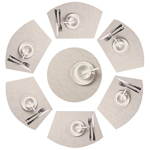 SHACOS Round Table Placemats Set of 7 Wedge Shaped Place Mat with Centerpiece Round Mat PVC Heat Resistant Table Mats Washable (7, Beige) -