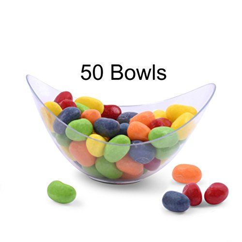 Zappy 50 Mini Bowls 2 oz Clear Plastic Party Bowls Oval Small Bowl Elegant & Disposable Small Dessert Bowls Candy Dishes Trifle Bowls Appetizer Bowls Mousse Cups Dessert Cups Souffle (Candy Bowls For The Candy Buffet)