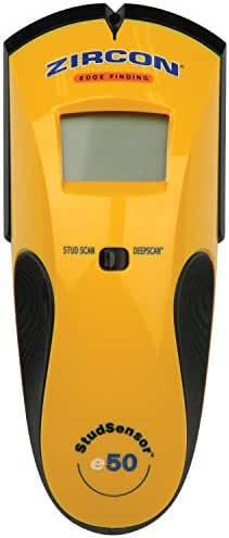 Zircon e50-FFP Stud Sensor e50 Edge-Finding Electronic Stud Finder with AC Wire Warning in Easy Open Packaging