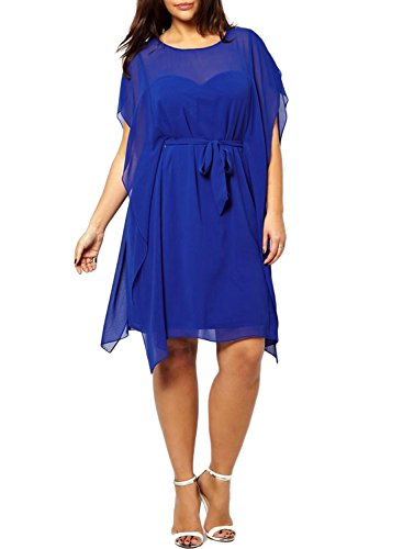 VOGLLY Women's Solid Plus Size Crew Neck Short Sleeve Belted Split Chiffon Dress Size 16 US Blue