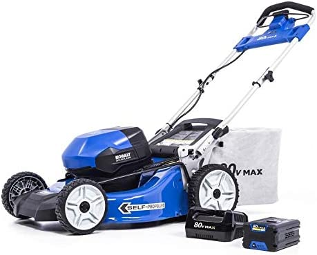 KT Kobalt 80-Volt Max Brushless Lithium Ion 21-in Self-propelled Cordless Electric Lawn Mower Battery Included