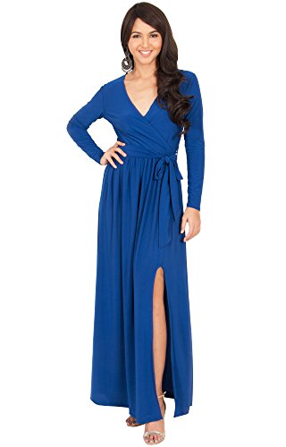 KOH KOH Womens Long Sleeve V-Neck Cross Over High Slit Cocktail Evening Gown Maxi Dress – Small, Cobalt Blue
