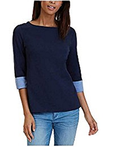 Nautica Womens Chambray-Cuff 3/4 Sleeve Top (Navy, XX-Large)