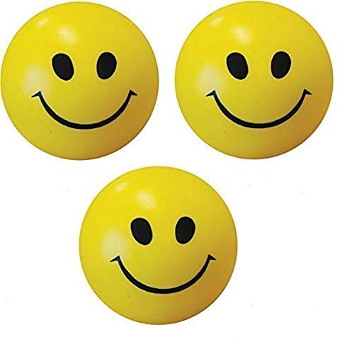 TT Style Essentials Smiley Face Squeeze Ball  Yellow, Set of 3