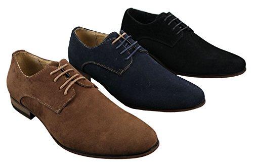 Chic Bleu Marron À Brun Noir Décontracté Style Nubuck Homme Marine Chaussures Lacets Daim R86qfwH0