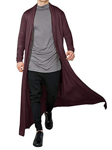 (Men's Ruffle Shawl Collar Cardigan Open Front Outwear Long Cape Poncho Trench Coat (Wine Red, Medium))