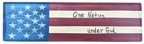 Thistlewink Americana Wooden Block Sign One Nation Under God Hand Made in The Heart of America. Perfect for Any Rustic Americana Vintage Collection Decor. Made in USA (Quote 2) ()