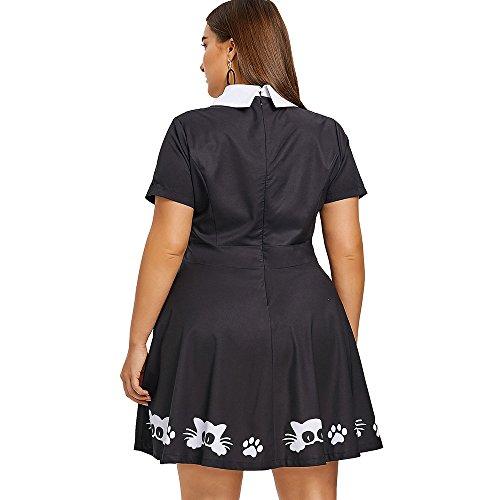 Taille Plus Vintage Femmes Charmma Peter Chat Pan Col Imprimer Robe Patineuse Trou De Serrure Noir