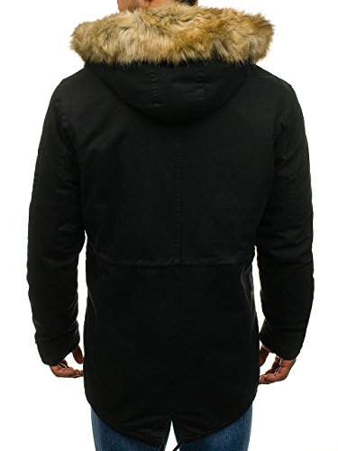 Winter Jacket Casual BOLF Parka 4D4 Black Men's Mix Hood Zip 4663 Furry 1qUpwp