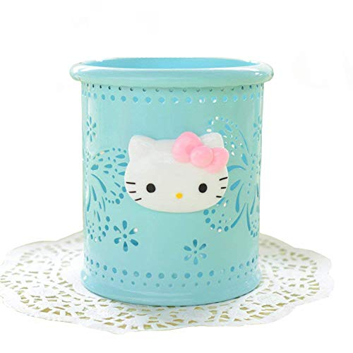 YOURNELO Cute Hello Kitty Hollow-Out Pen Pencil Holder Desk Organizer Accessories (Blue -