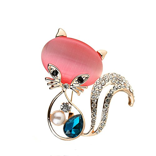 TULIP LY Pretty Animal Brooches Rose Gold Plated Full Shining Crystal Brooch Pink Cat's Eye Brooch Pins