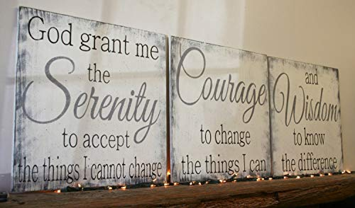 (Serenity Prayer Wood Sign God Grant Me The Serenity to Accept The Things I Cannot Change Christian Wall Art Religious Wall Decor Shabby Chic)