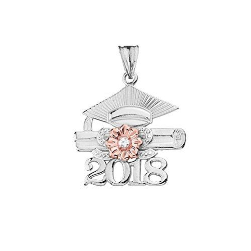 Dazzling 14k Two-Tone White Gold Diamond Class of 2018 Graduation Charm Pendant ()