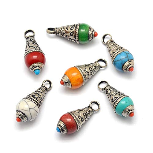 (Craftdady 10Pcs Random Mixed Colors Resin Teardrop Pendants 27x11mm with Large Hole Tibetan Silver Metal Bead Caps for DIY Bracelet Necklace Jewelry Making)