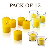 Set of 12 Votive Citronella Candles - Summer Scented Candles - Mosquito Bug Repellent for Indoor/Outdoor Use - 10 hour Burn Time - Made in USA