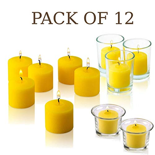 Set of 12 Votive Citronella Candles - Summer Scented Candles Scare Away Mosquito, Bug and Flies- for Indoor/Outdoor Use - 10 Hour Burn Time - Made in USA