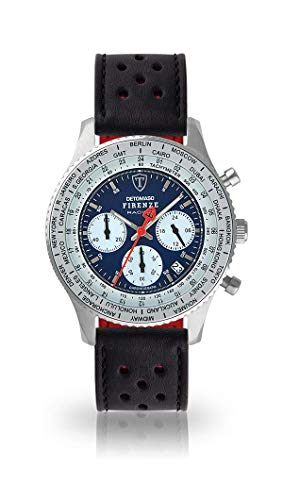 DETOMASO Firenze Racing Mens Watch Chronograph Analogue Quartz Black Racing Leather Strap Blue Dial DT1069-A-840