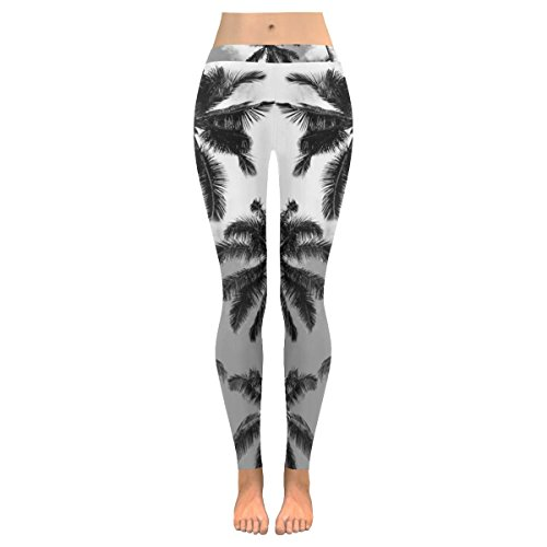 InterestPrint Black and White Coconut Palm Tree Custom Stretchy Capri Leggings Skinny Pants for Yoga Running Pilates Gym M