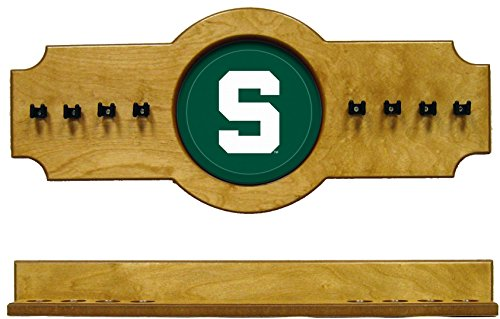 NCAA Michigan State Spartans MSUCRR100-O 2 pc Hanging Wall Pool Cue Stick Holder Rack - Oak