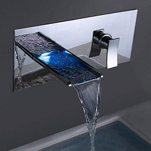 ZT-TTHG 実用的な浴室の壁の隠さ蛇口LED温度コントロールの色の銅ホット&コールド流域のバスタブ滝の蛇口水力美しいです