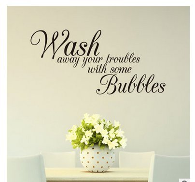 Edtoy Wash Away Your Troubles Bathroom Bedroom Quote PVC Wall Art Decal Sticker Black (Bathroom Wall Decal Quotes)