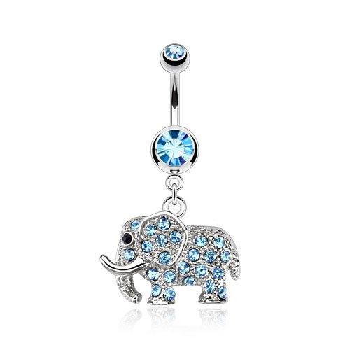 Elephant Multi Paved CZs Dangle 316 Surgical Steel Belly Button Ring (Sold Per Piece) Czs Dangle Belly Ring