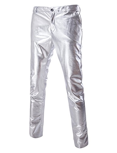 ZEROYAA Mens Night Club Metallic Gold Suit Pants/Straight Leg Trousers 34/Tag Asian XXL Silver