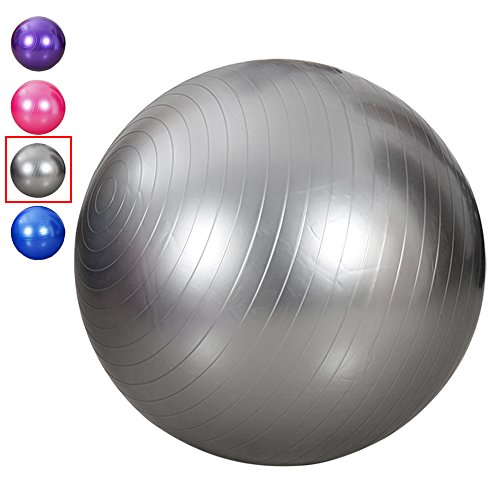 King size 95 cm Exercise Ball Thick Explosion-proof Yoga Ball for Fitness, Swiss Ball Slimming Yoga With Pump (Gray)