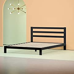 The steel framed Arnav Modern Studio Platform Bed with Headboard by Zinus features wooden slats that provide strong support for your memory foam, latex, or spring mattress. Low profile 10 inch frame height with 7 inches of clearance under the...