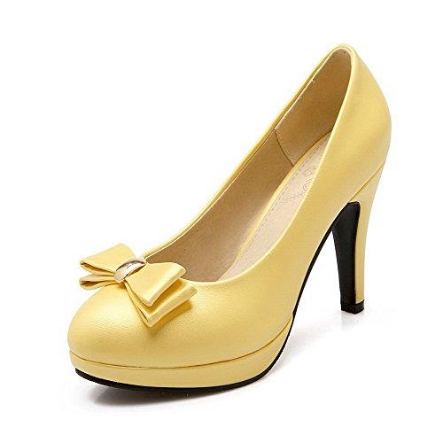 AllhqFashion Mujer Pu Sólido Sin cordones Puntera Cerrada Puntera Redonda Tacón Alto De salón Amarillo