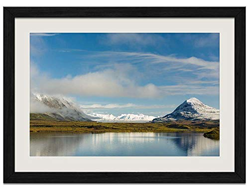 Alaska Water Reflection Mountains Lake North - Art Prints Wall Wood Frames Posters Framed Picture Home Décor(20x14inch Black ()
