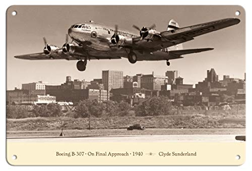 Pacifica Island Art 8in x 12in Vintage Tin Sign - Boeing B-307 - On Final Approach 1940 by Clyde Sunderland ()