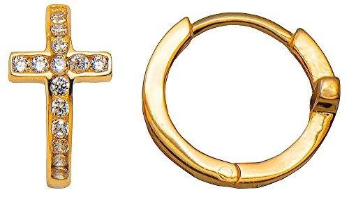 14k Yellow Gold Small Huggie Hoop Earrings w/CZ Cross (1.7mm Thick), 12.5mm