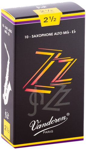 Vandoren SR4125 Alto Sax ZZ Reeds Strength 2.5; Box of 10