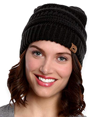 Black Winter Ski - Tough Headwear Cable Knit Beanie - Thick, Soft & Warm Chunky Beanie Hats for Women & Men - Serious Beanies for Serious Style